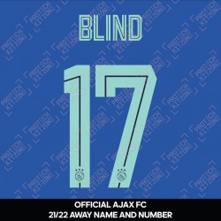 Blind 17 (Official Ajax FC 2021/22 Away Shirt Name and Numbering)