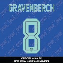 Gravenberch 8 (Official Ajax FC 2021/22 Away Shirt Name and Numbering)