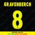 Gravenberch 8 (Official Ajax FC 2021/22 Third Shirt Name and Numbering)