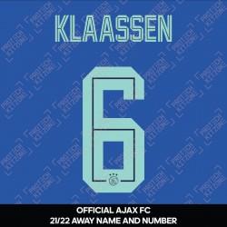 Klaassen 6 (Official Ajax FC 2021/22 Away Shirt Name and Numbering)