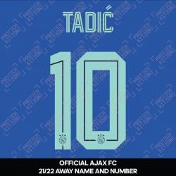 Tadić 10 (Official Ajax FC 2021/22 Away Shirt Name and Numbering)