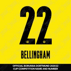 Bellingham 22 (OFFICIAL Borussia Dortmund 2020/21/22 HOME NAME AND NUMBERING)